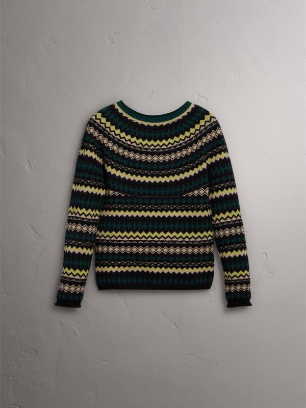 Fair Isle Wool Sweater in Olive Green - Women | Burberry - cell image 3