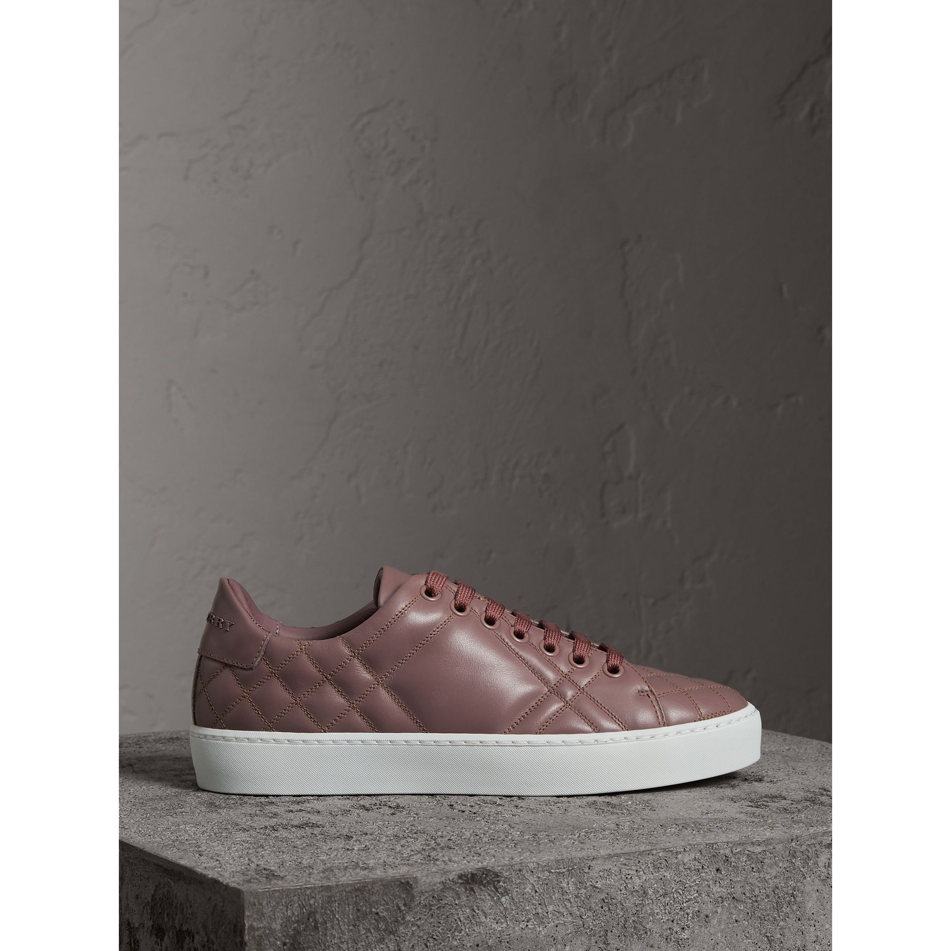 Check-quilted Leather Trainers in Ivory Pink - Women | Burberry United Kingdom - gallery image 4