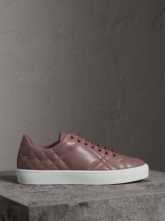 Check-quilted Leather Trainers in Ivory Pink - Women | Burberry - cell image 3