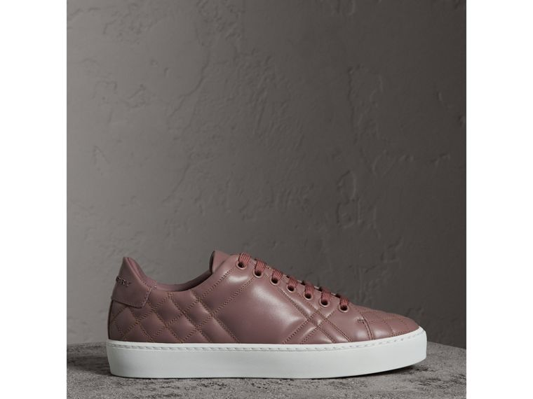 Check-quilted Leather Sneakers in Ivory Pink - Women | Burberry Hong Kong - cell image 4