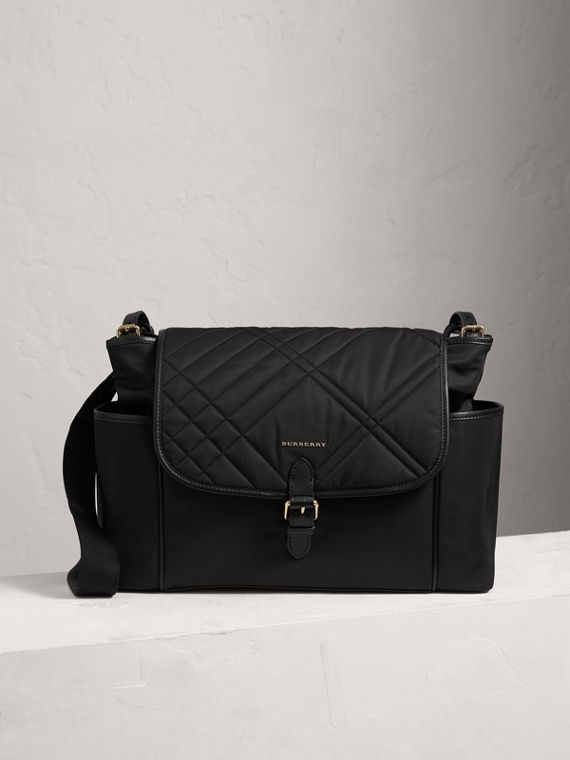 Check-quilted Baby Changing Shoulder Bag in Black