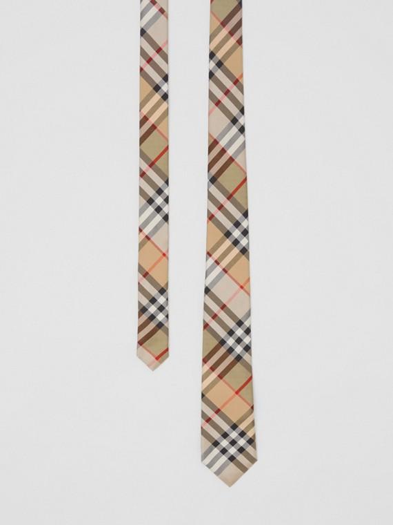 Classic Cut Vintage Check Silk Twill Tie in Archive Beige
