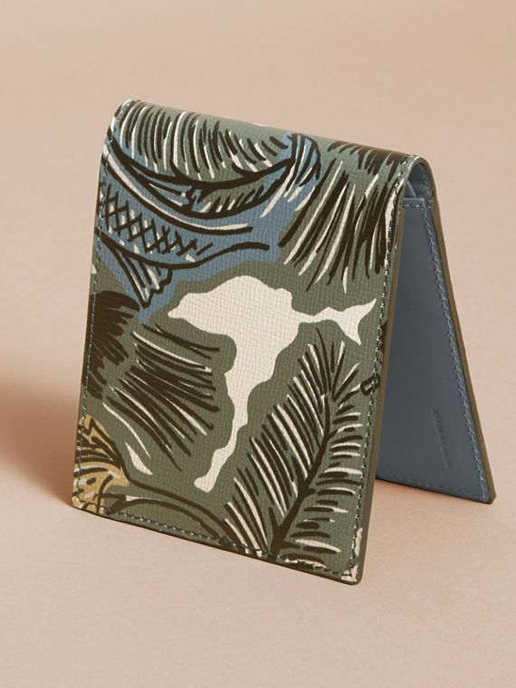 Beasts Print Leather Folding Wallet in Sage Green - Men | Burberry Singapore - cell image 3