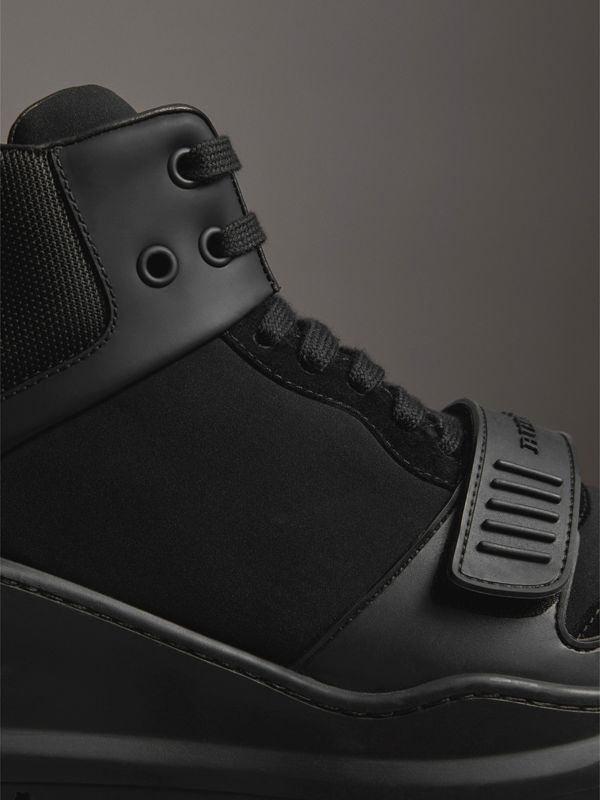 Suede and Neoprene High-top Sneakers in Black | Burberry - cell image 3