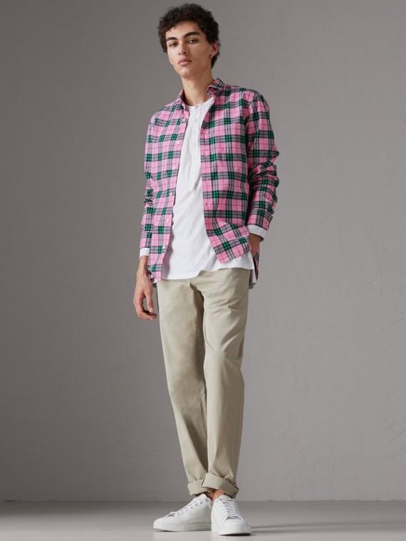 Chemise en coton à motif check (Rose Corail Vif)