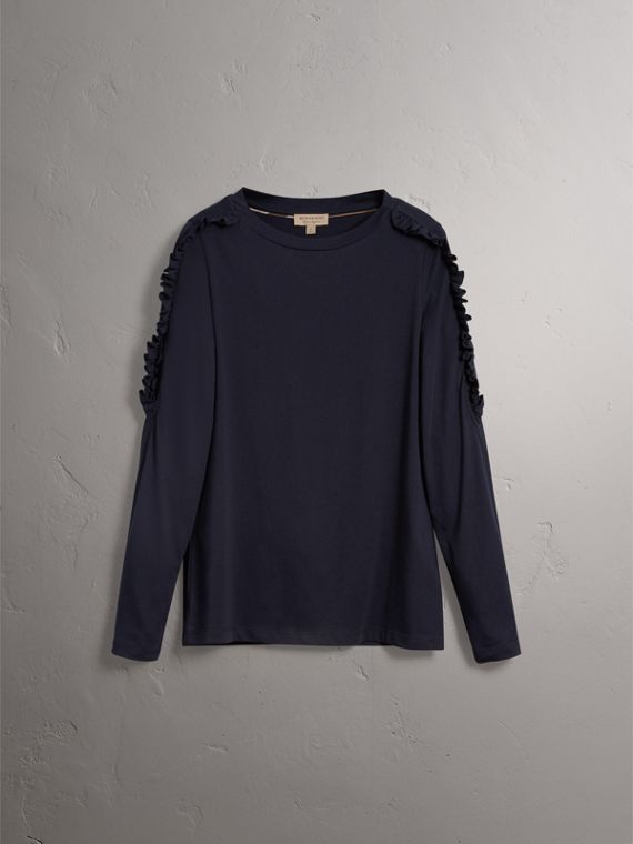 Ruffle Detail Cotton Top in True Navy - Women | Burberry - cell image 3