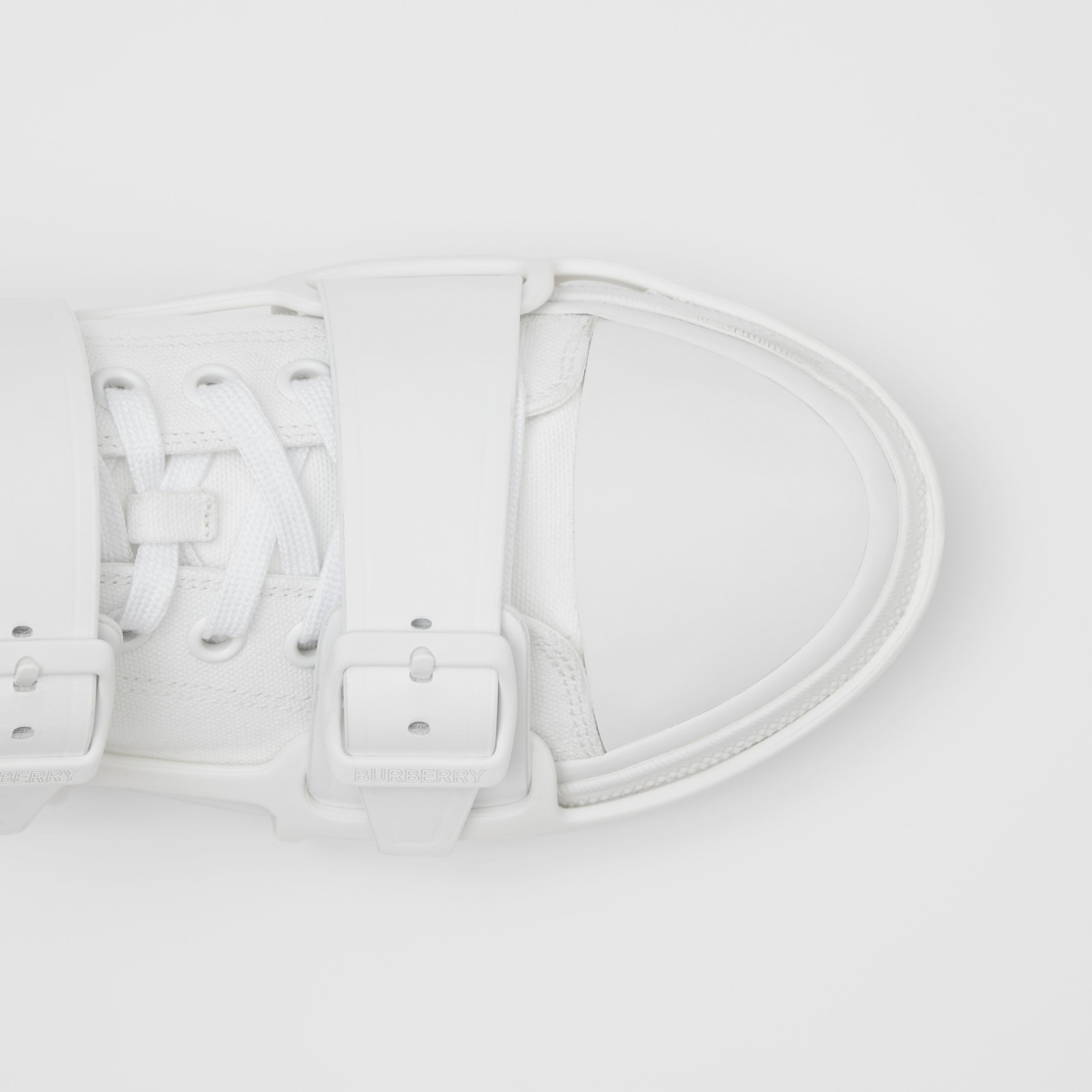 Cotton and Leather Webb Sneakers in White | Burberry - 2
