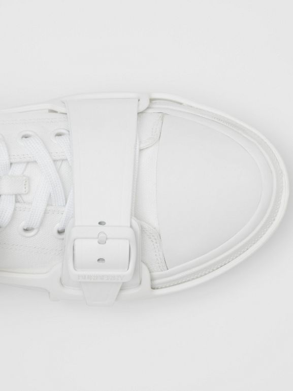 Cotton and Leather Webb Sneakers in White | Burberry United Kingdom - cell image 1