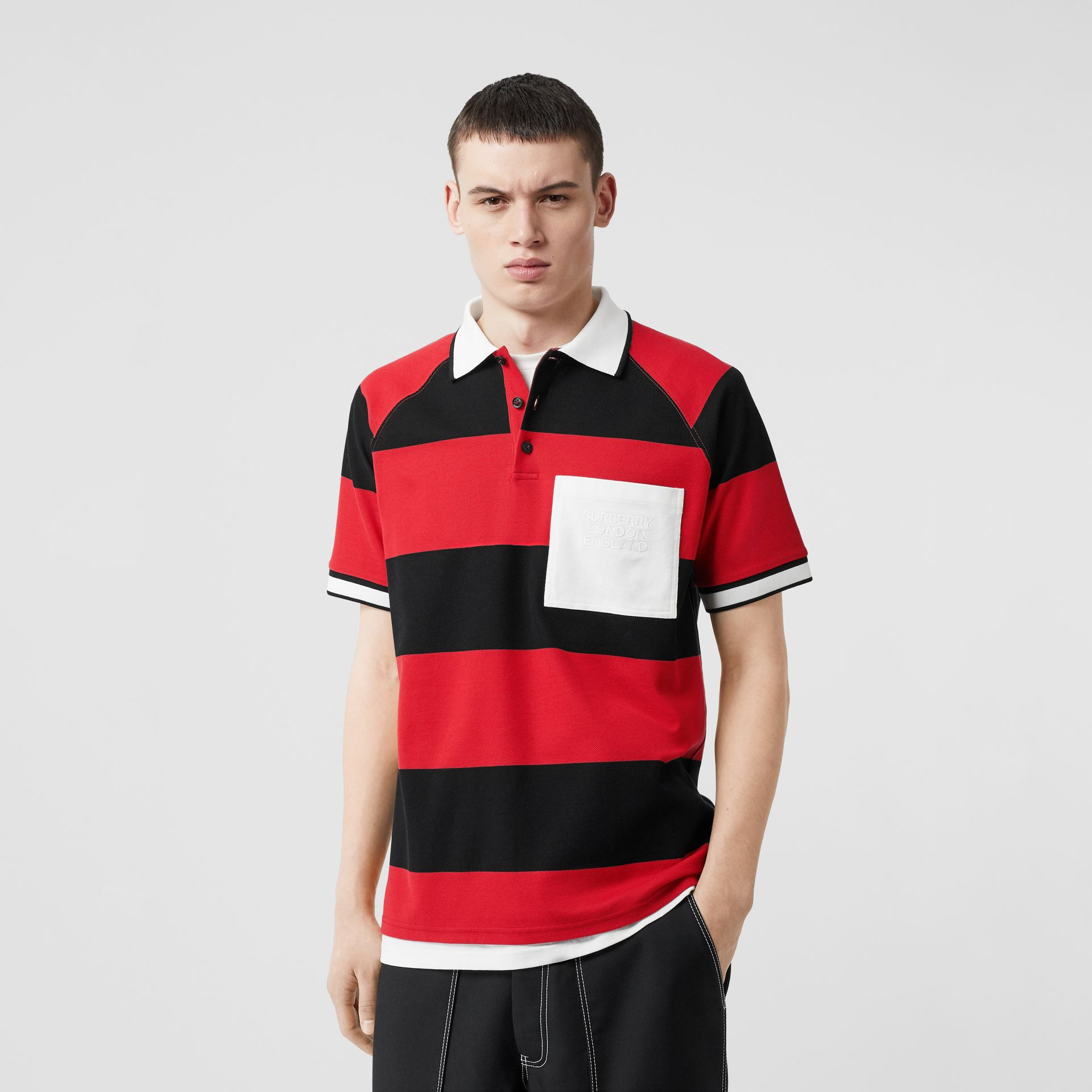 Striped Cotton Piqué Oversized Polo Shirt in Black/bright Red - Men | Burberry Hong Kong S.A.R - gallery image 4