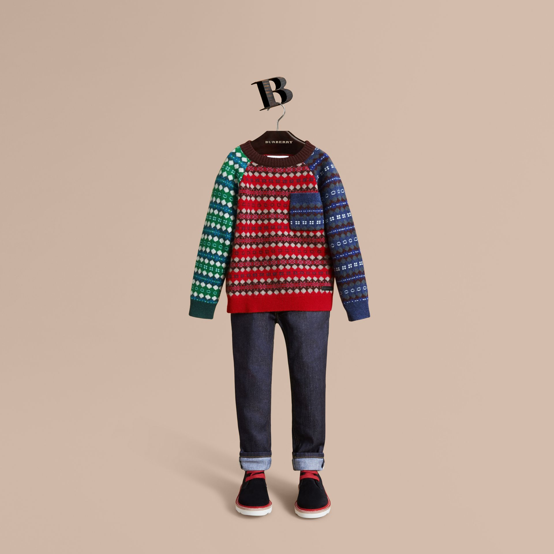 Colour Block Fair Isle Wool Cashmere Sweater in Rosewood - Boy | Burberry - gallery image 1