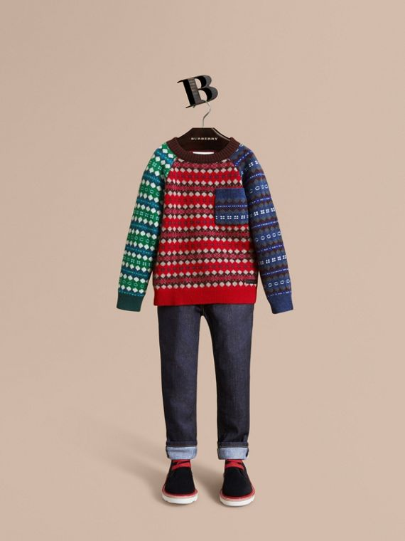 Colour Block Fair Isle Wool Cashmere Sweater in Rosewood
