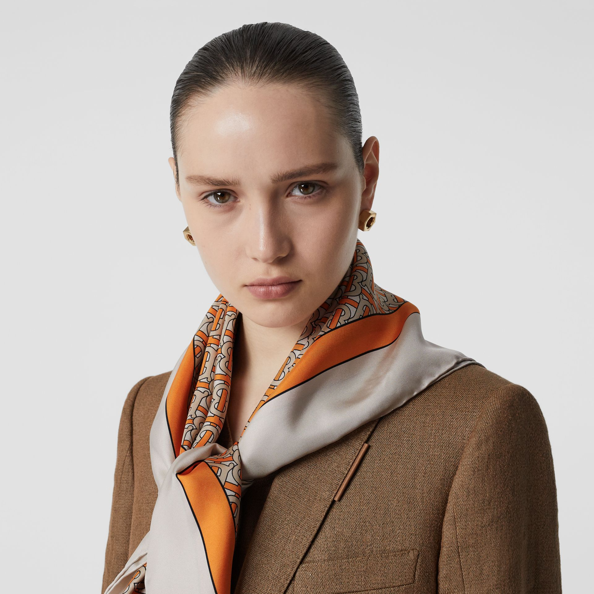 Monogram Print Silk Square Scarf in Bright Orange - Women | Burberry Australia - gallery image 2