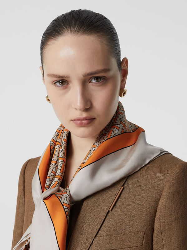 Monogram Print Silk Square Scarf in Bright Orange - Women | Burberry Australia - cell image 2