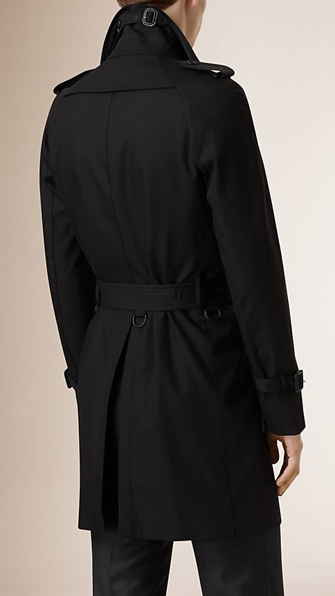 Black Cotton Gabardine Trench Coat - Image 3