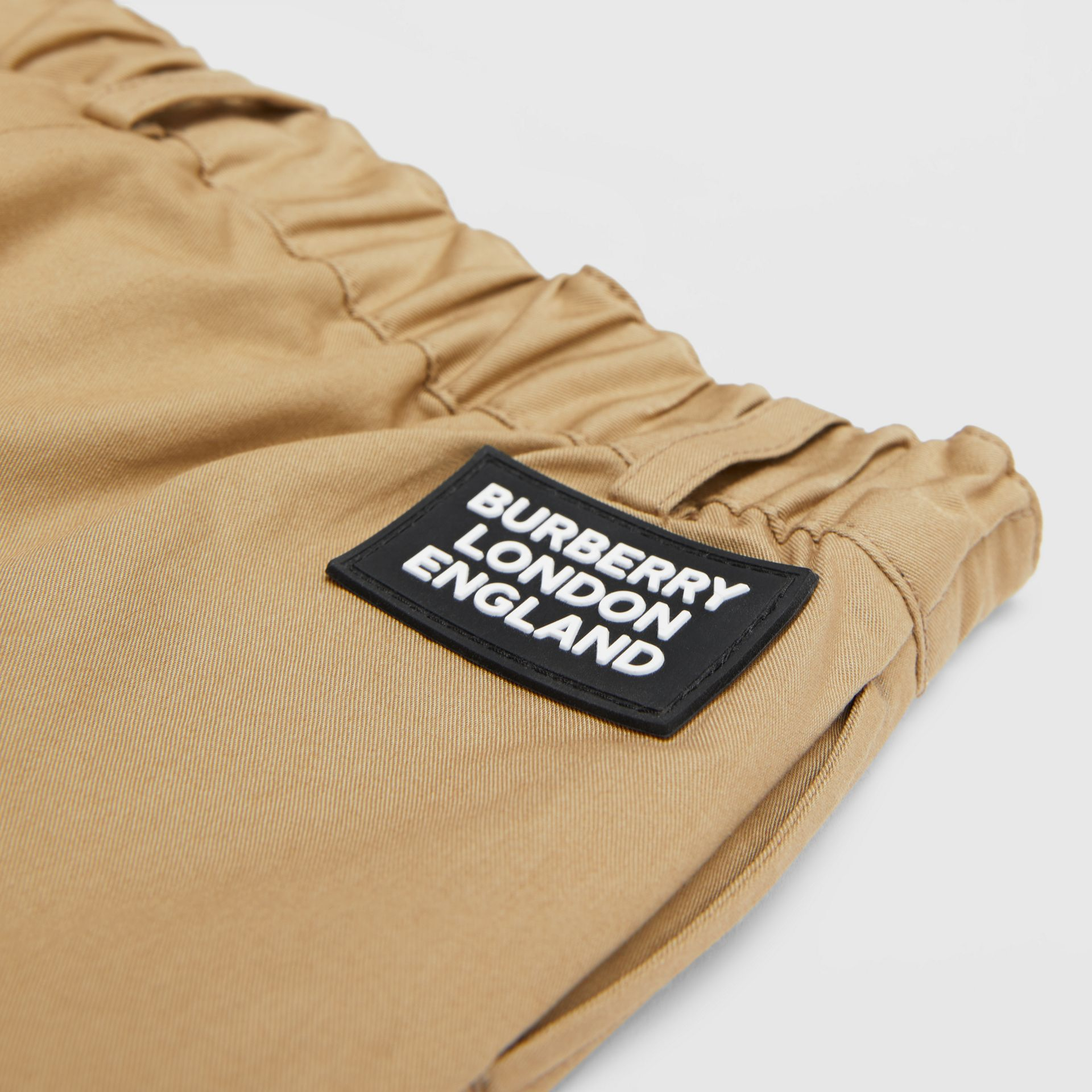 Logo Appliqué Cotton Twill Tailored Shorts in Archive Beige - Children | Burberry United States - gallery image 1