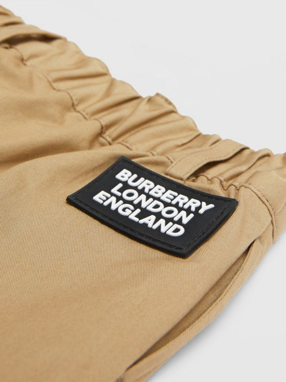 Logo Appliqué Cotton Twill Tailored Shorts in Archive Beige - Children | Burberry United States - cell image 1