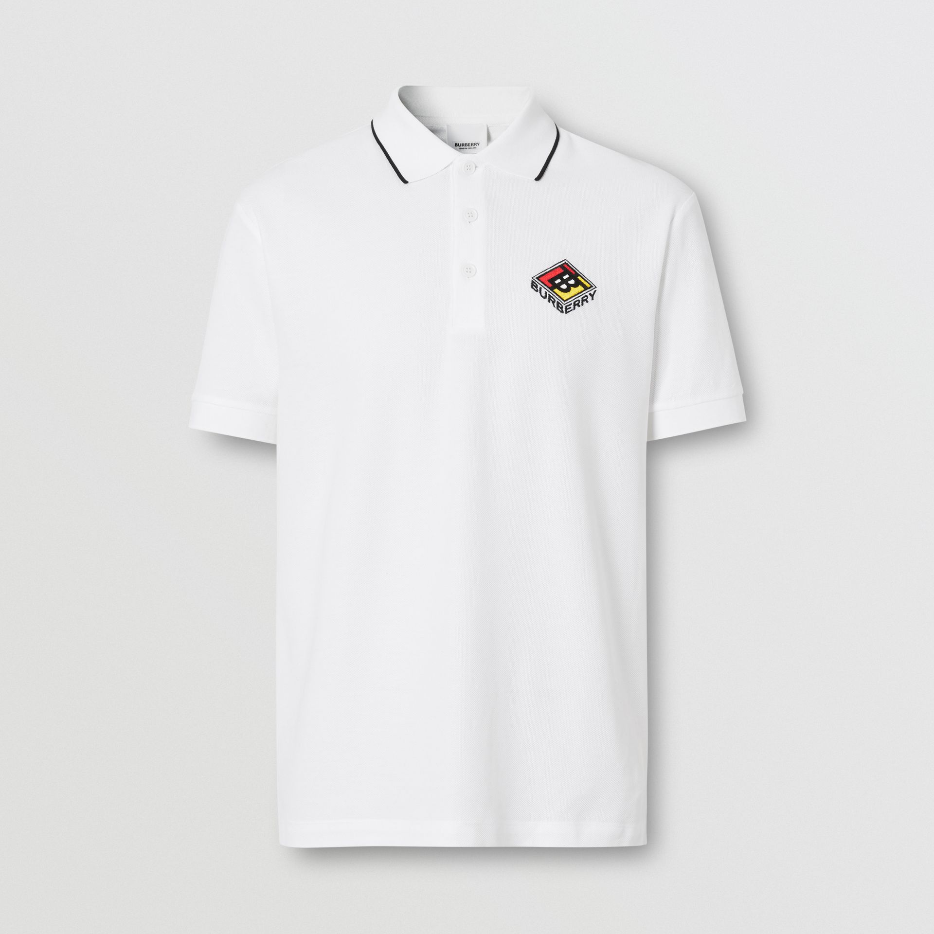 Logo Graphic Cotton Piqué Polo Shirt in White - Men | Burberry - gallery image 3