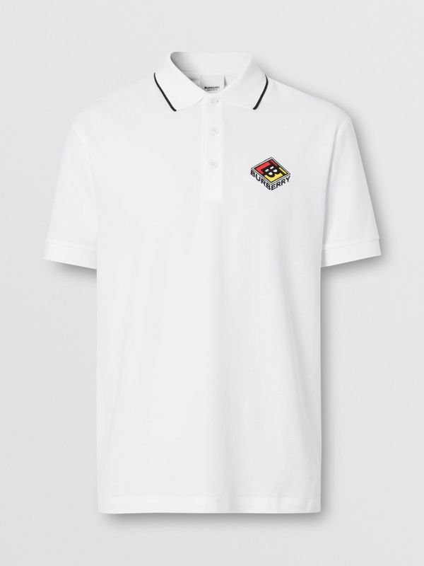 Logo Graphic Cotton Piqué Polo Shirt in White - Men | Burberry - cell image 3