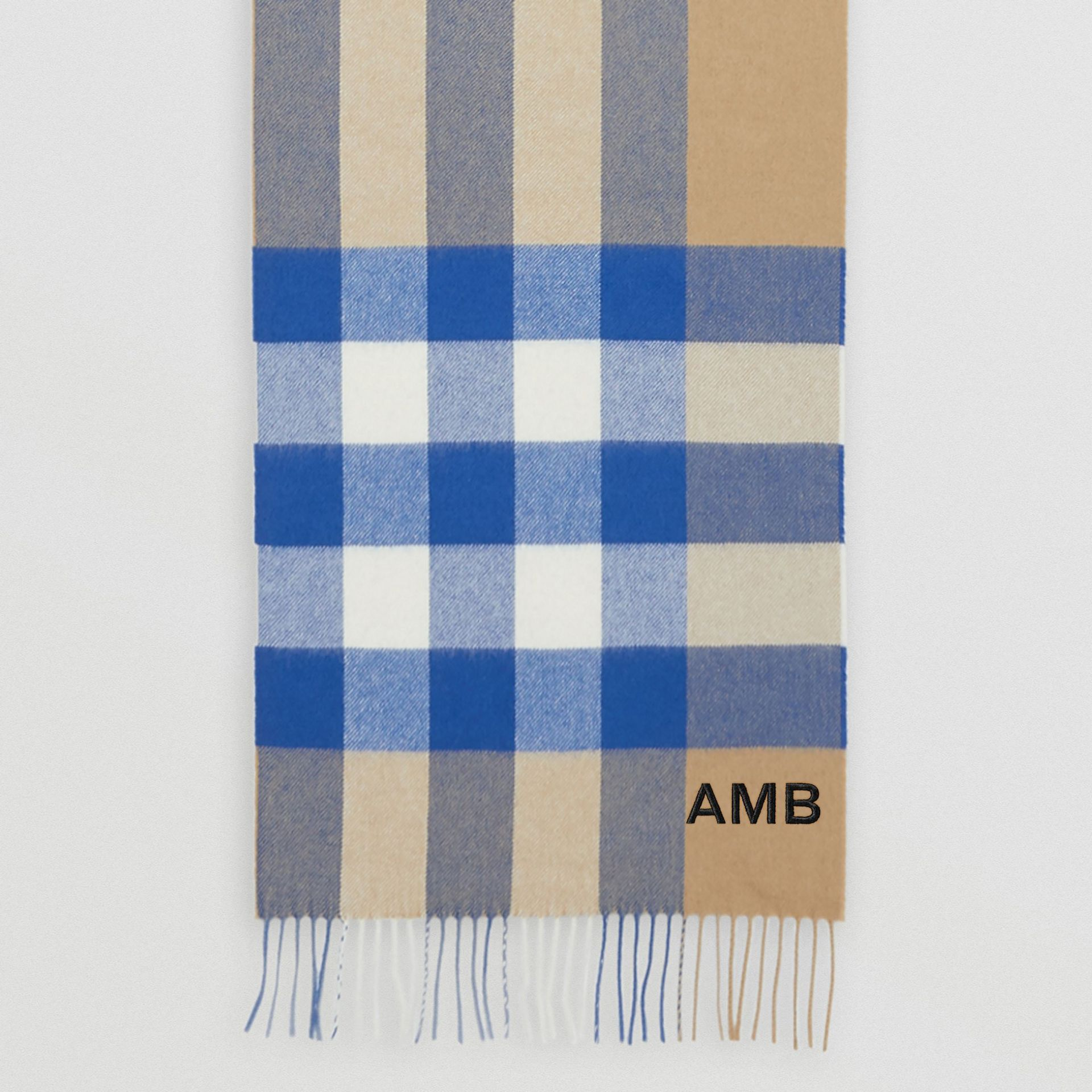 Check Cashmere Scarf in Arc Beige/inky Blue | Burberry Canada - gallery image 7