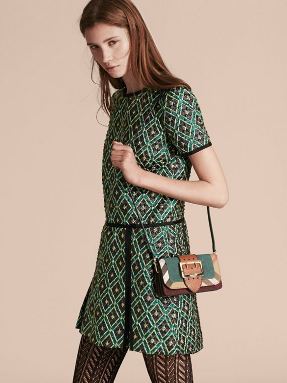 The Small Buckle Bag in Suede and House Check Sea Green - cell image 2