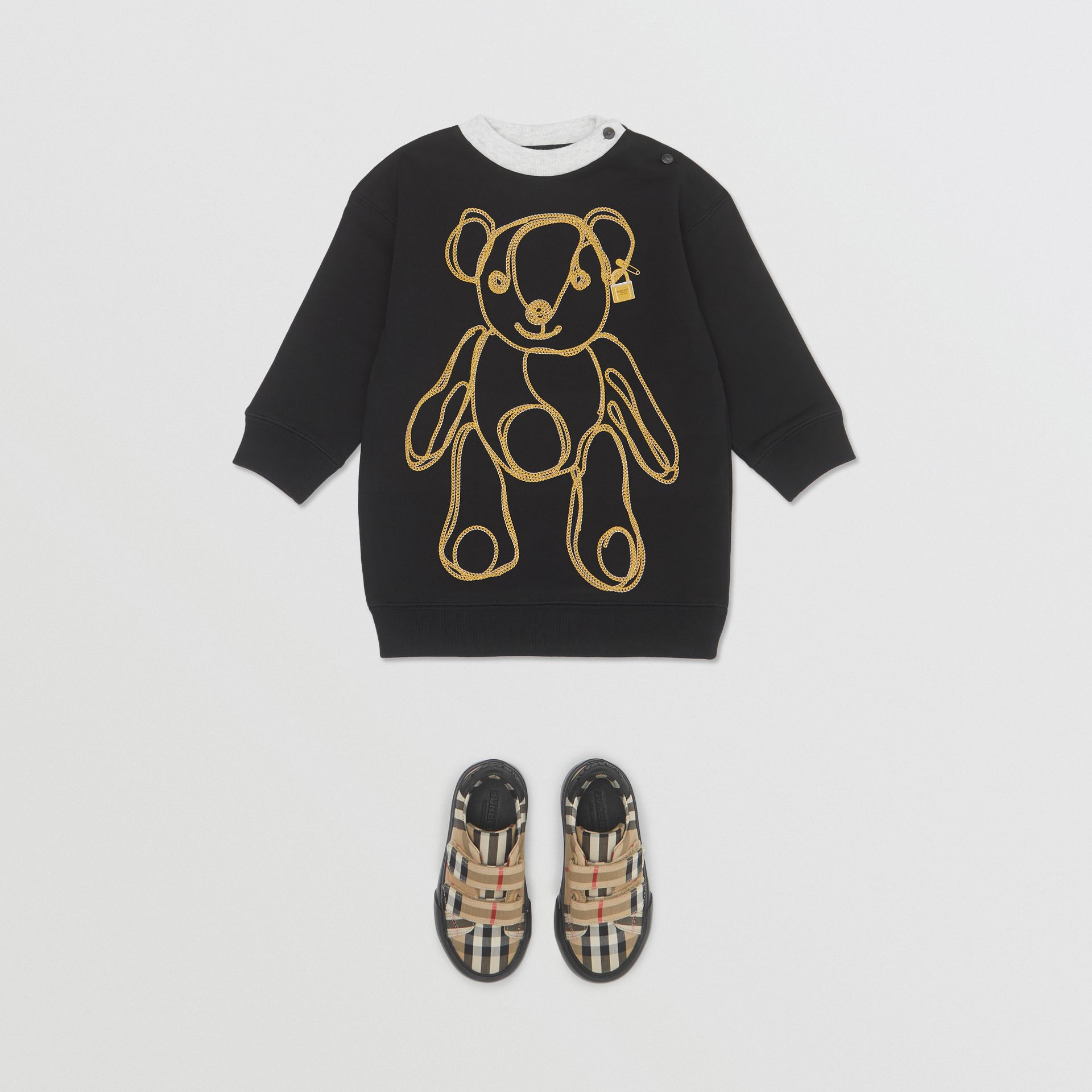 Chain Print Cotton Sweater Dress in Black - Children | Burberry Hong Kong S.A.R - gallery image 2