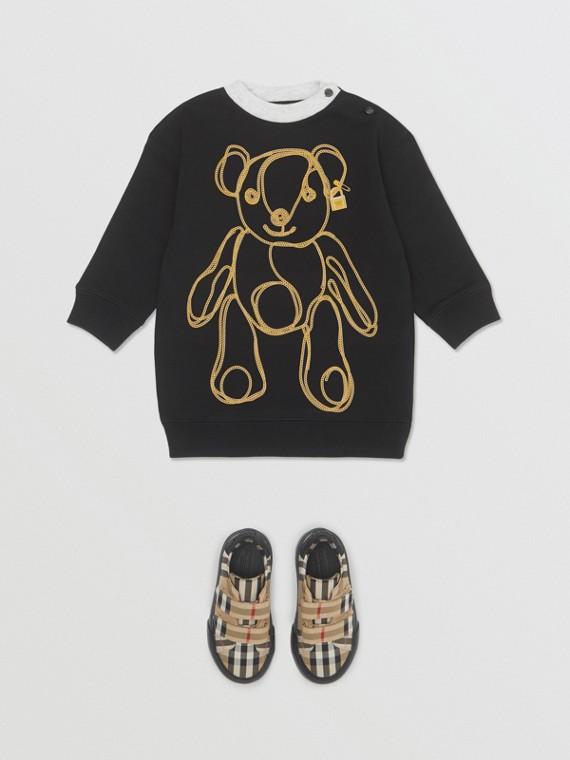 Pulloverkleid aus Baumwolle mit Motiv in Kettenoptik (Schwarz)