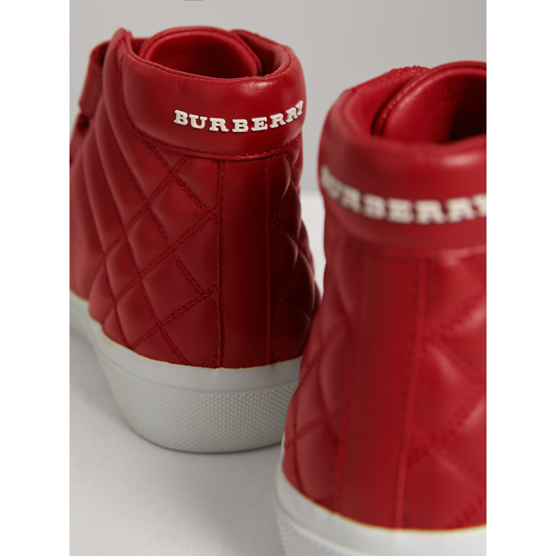 Quilted Leather High-top Trainers in Parade Red | Burberry Canada - gallery image 3