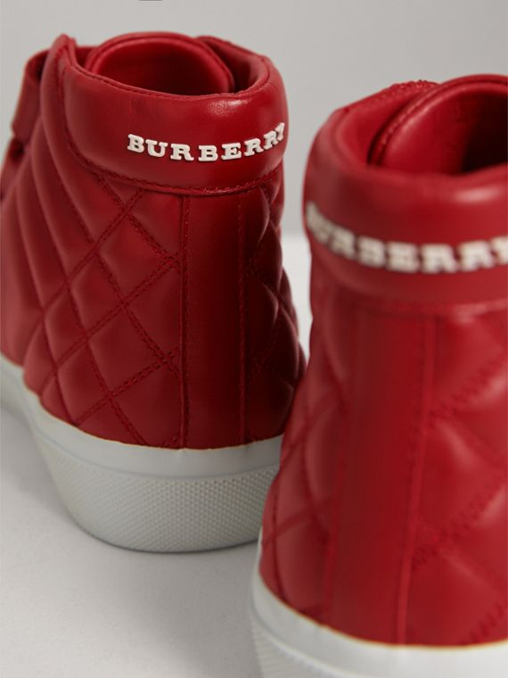 Quilted Leather High-top Trainers in Parade Red | Burberry - cell image 2