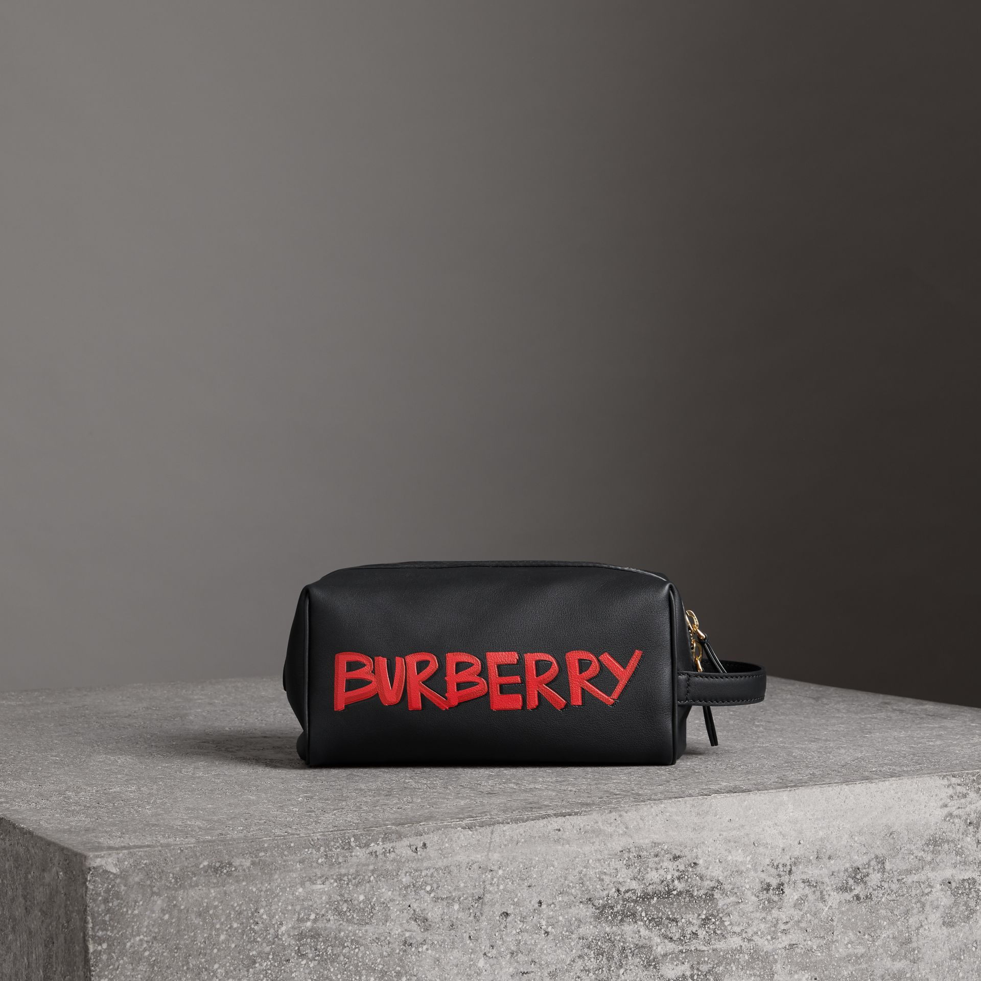 Graffiti Print Leather Pouch in Black | Burberry - gallery image 0