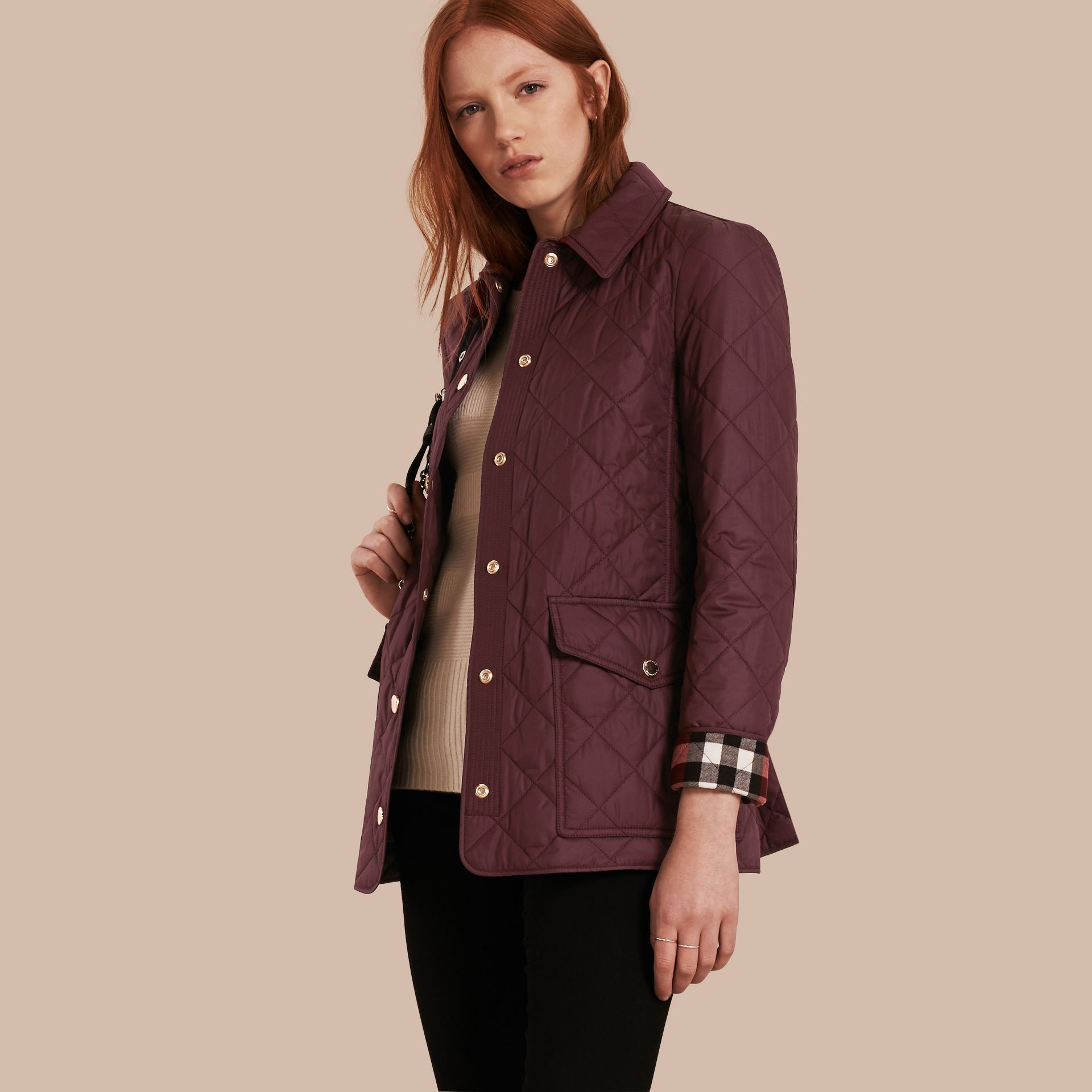 Check Detail Diamond Quilted Jacket Burgundy - gallery image 1