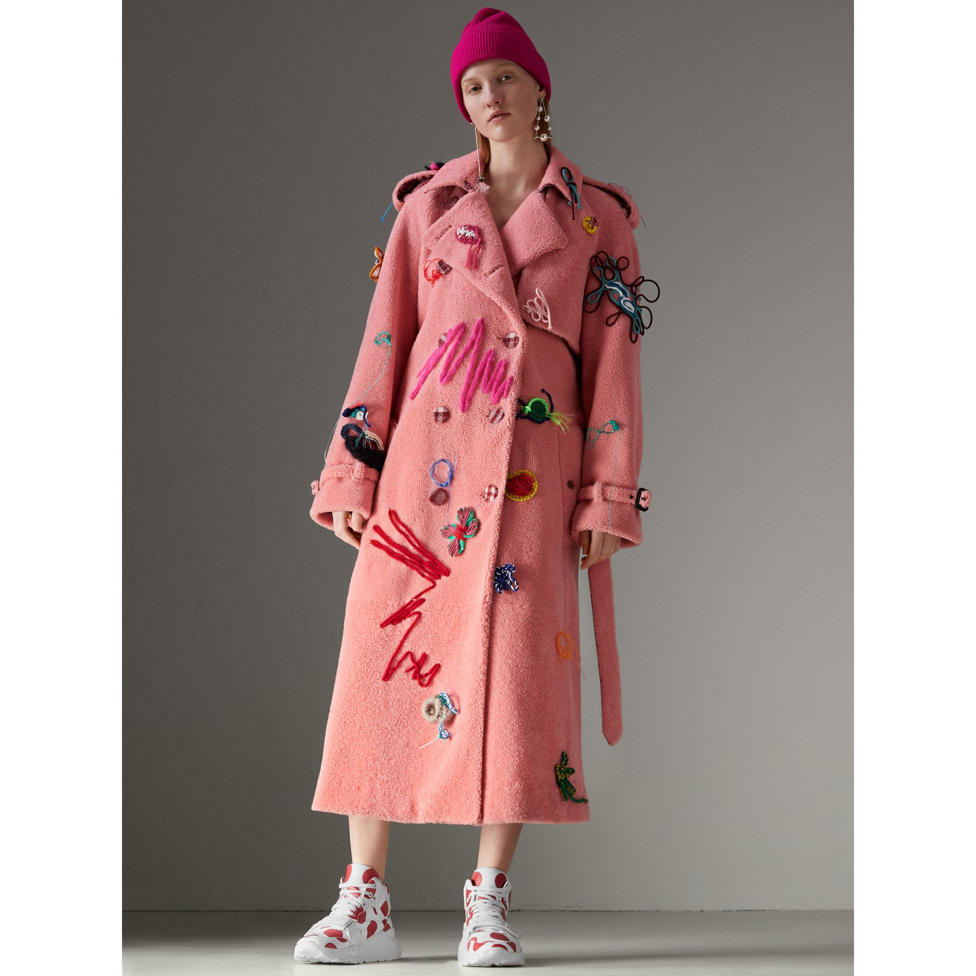 Embellished Shearling Trench Coat in Bright Pink - Women | Burberry Hong Kong - gallery image 6