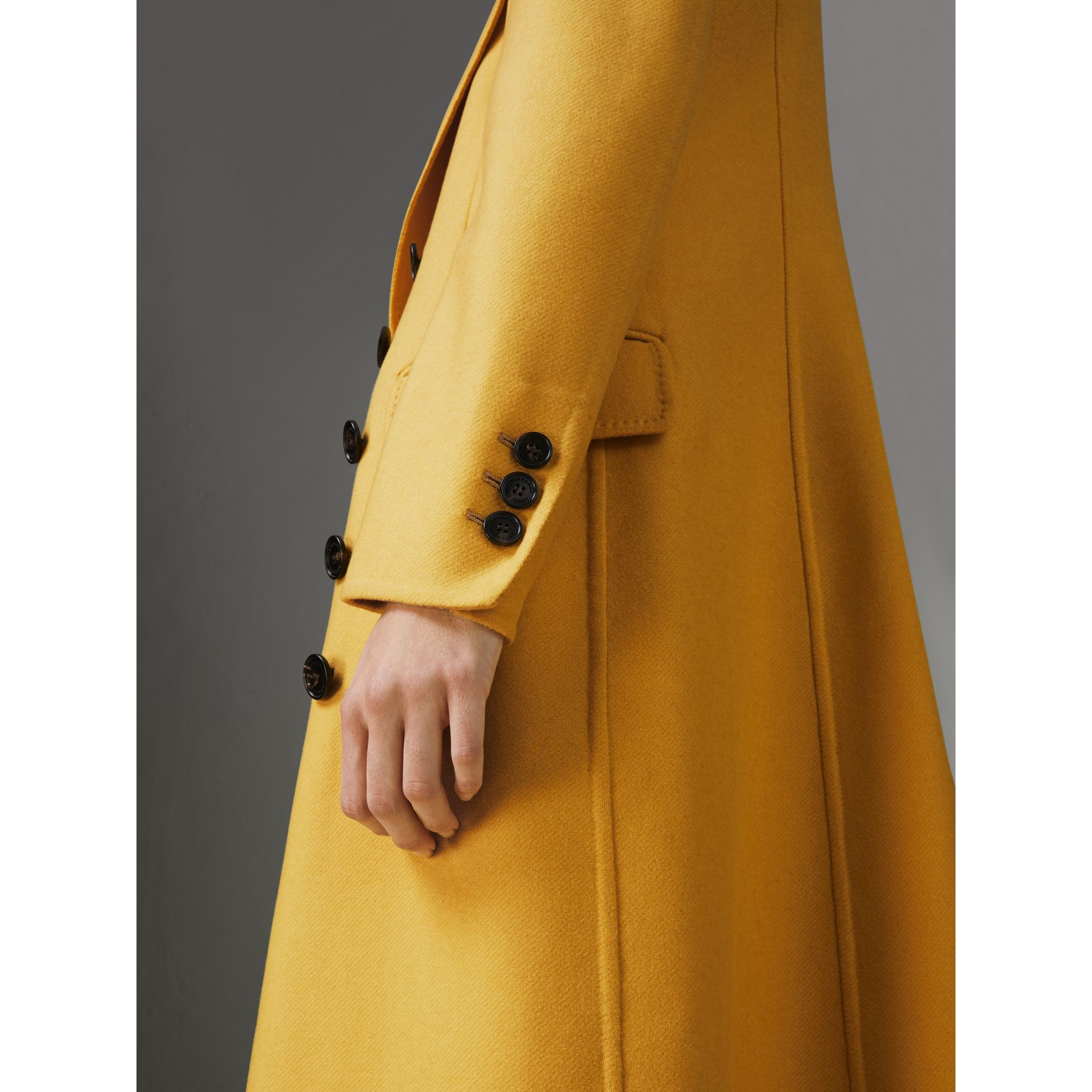 Double-breasted Cashmere Tailored Coat in Ochre Yellow - Women | Burberry United Kingdom - gallery image 1