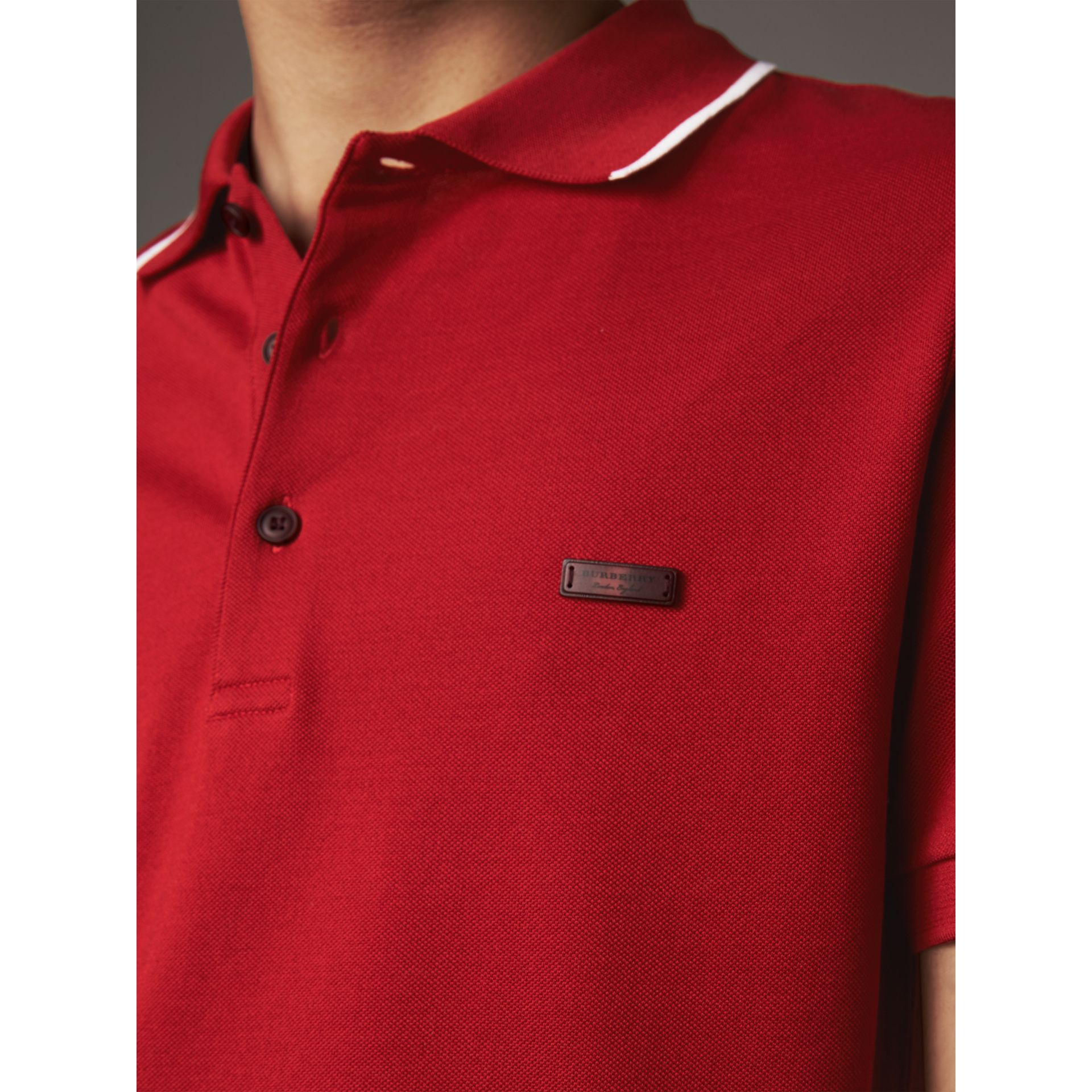 Tipped Collar Cotton Piqué Polo Shirt in Military Red - Men | Burberry - gallery image 2