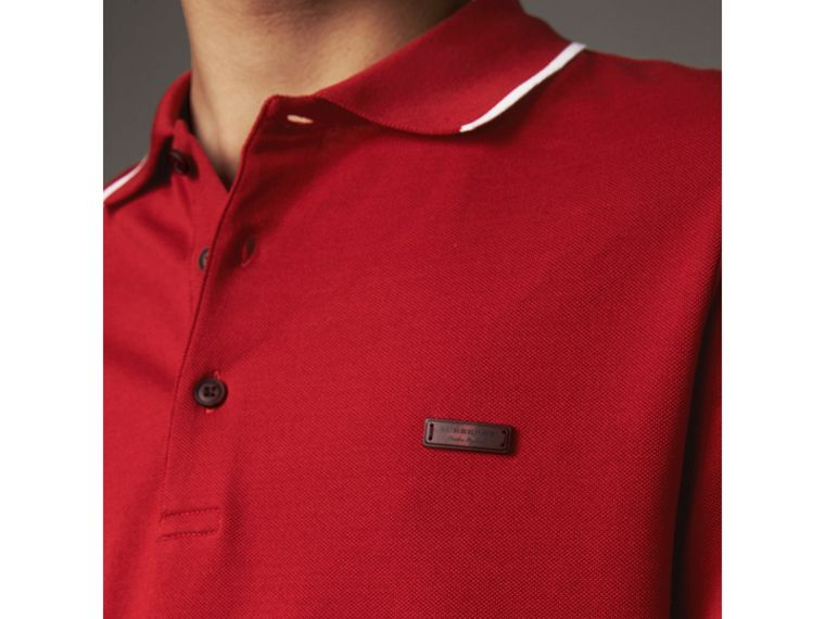 Tipped Collar Cotton Piqué Polo Shirt in Military Red - Men | Burberry - cell image 1