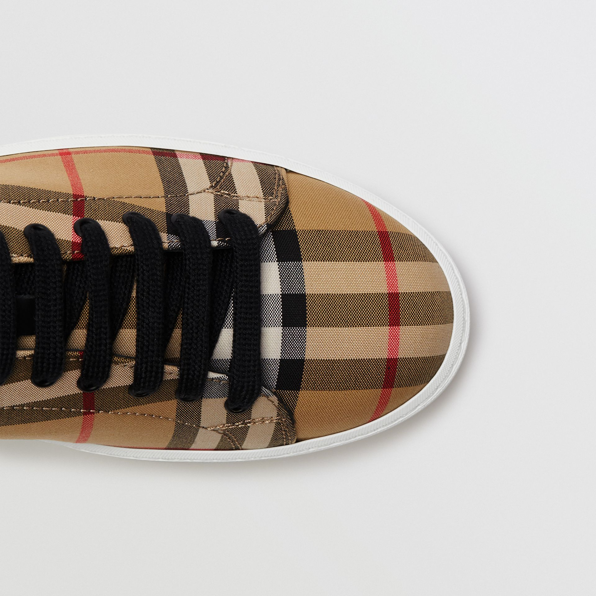 Vintage Check and Leather Sneakers in Antique Yellow - Women | Burberry Australia - gallery image 1