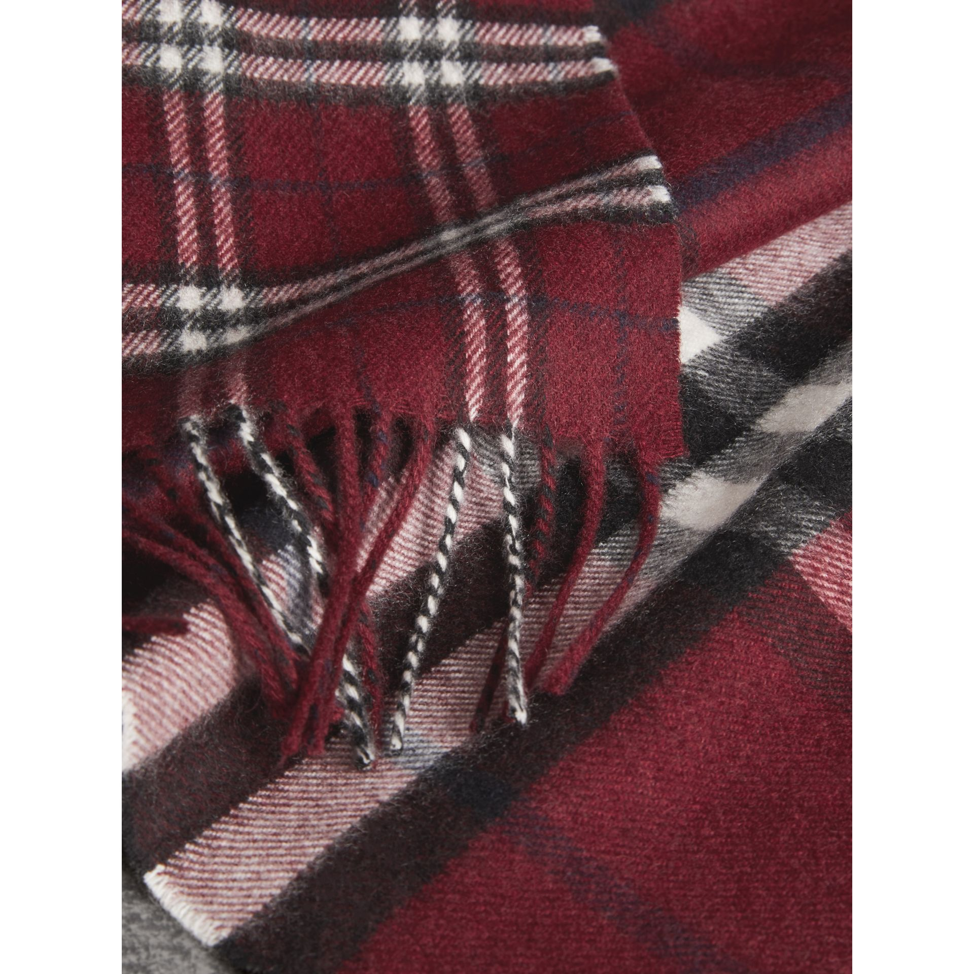 Gosha x Burberry Check Cashmere Double Scarf in Claret | Burberry - gallery image 6