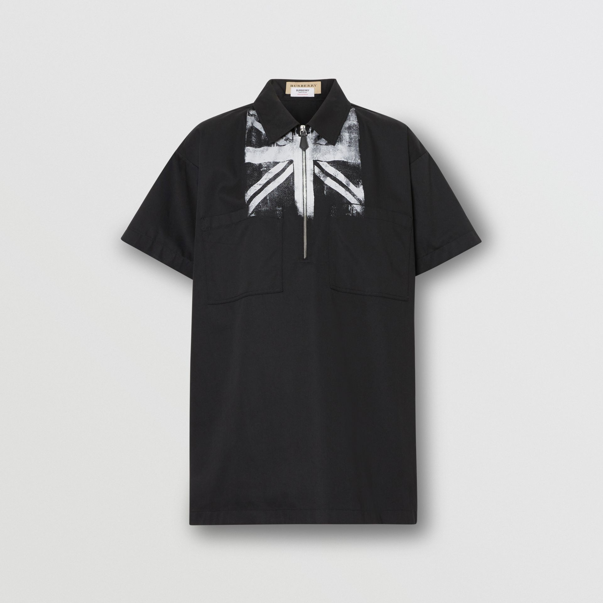 Short-sleeve Union Jack Print Cotton Oversized Shirt in Black - Women | Burberry - gallery image 3