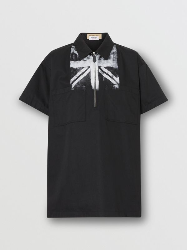Short-sleeve Union Jack Print Cotton Oversized Shirt in Black - Women | Burberry - cell image 3