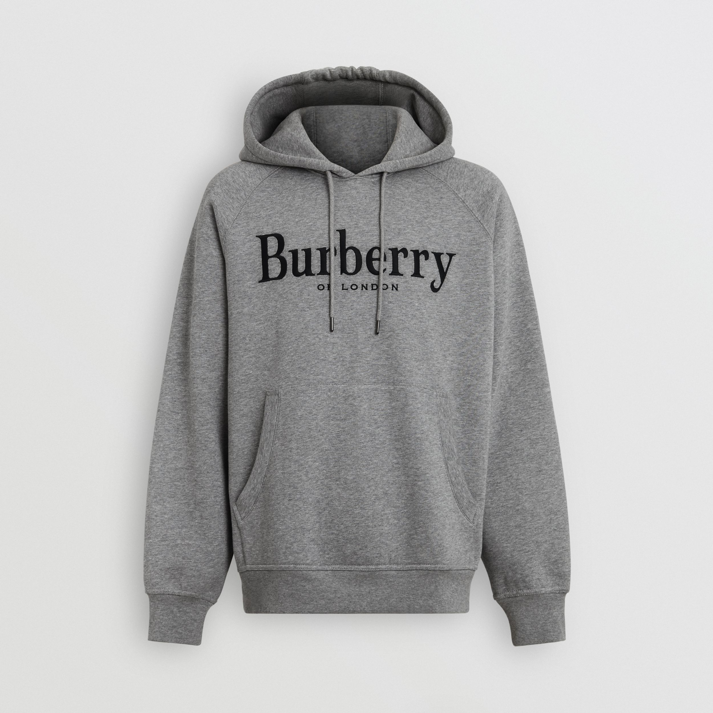 Embroidered Logo Jersey Hoodie in Pale Grey Melange | Burberry - 4