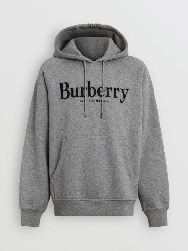 Embroidered Logo Jersey Hoodie in Pale Grey Melange - Men | Burberry United Kingdom - cell image 3