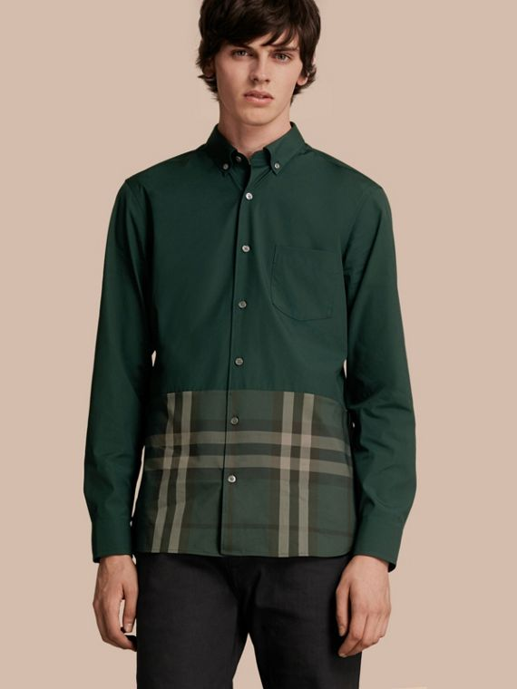 Check Panel Stretch-Cotton Poplin Shirt in Racing Green