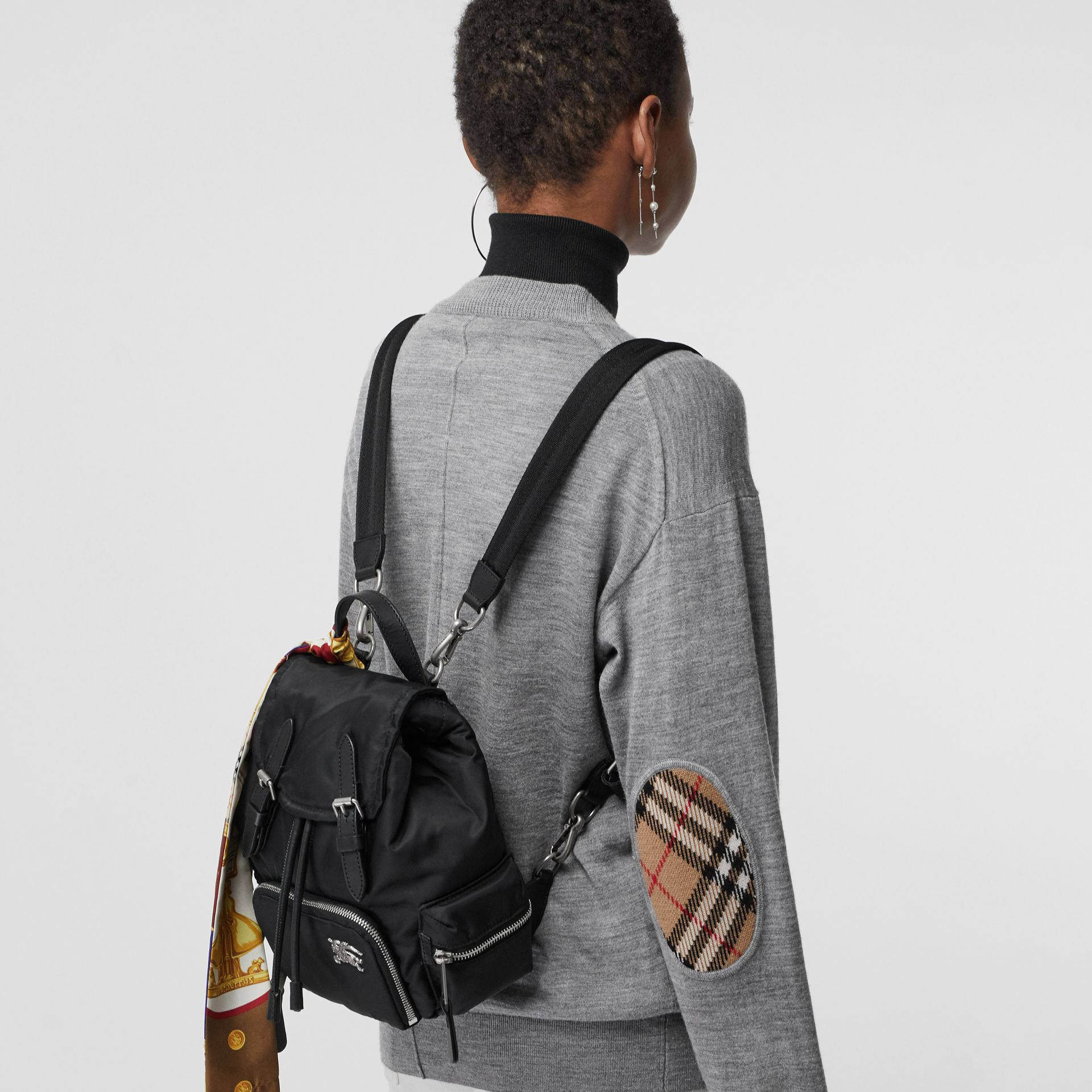 The Small Crossbody Rucksack in Puffer Nylon in Black - Women | Burberry - gallery image 3