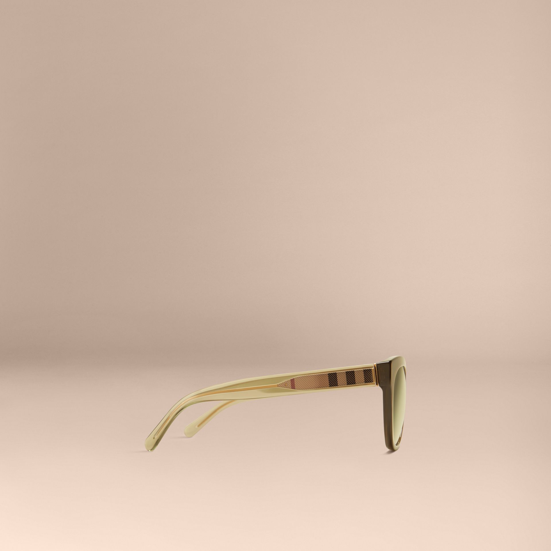 Olive Check Detail Oval Sunglasses Olive - gallery image 5