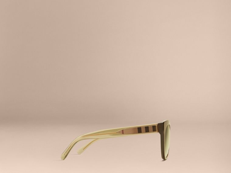 Olive Check Detail Oval Sunglasses Olive - cell image 4