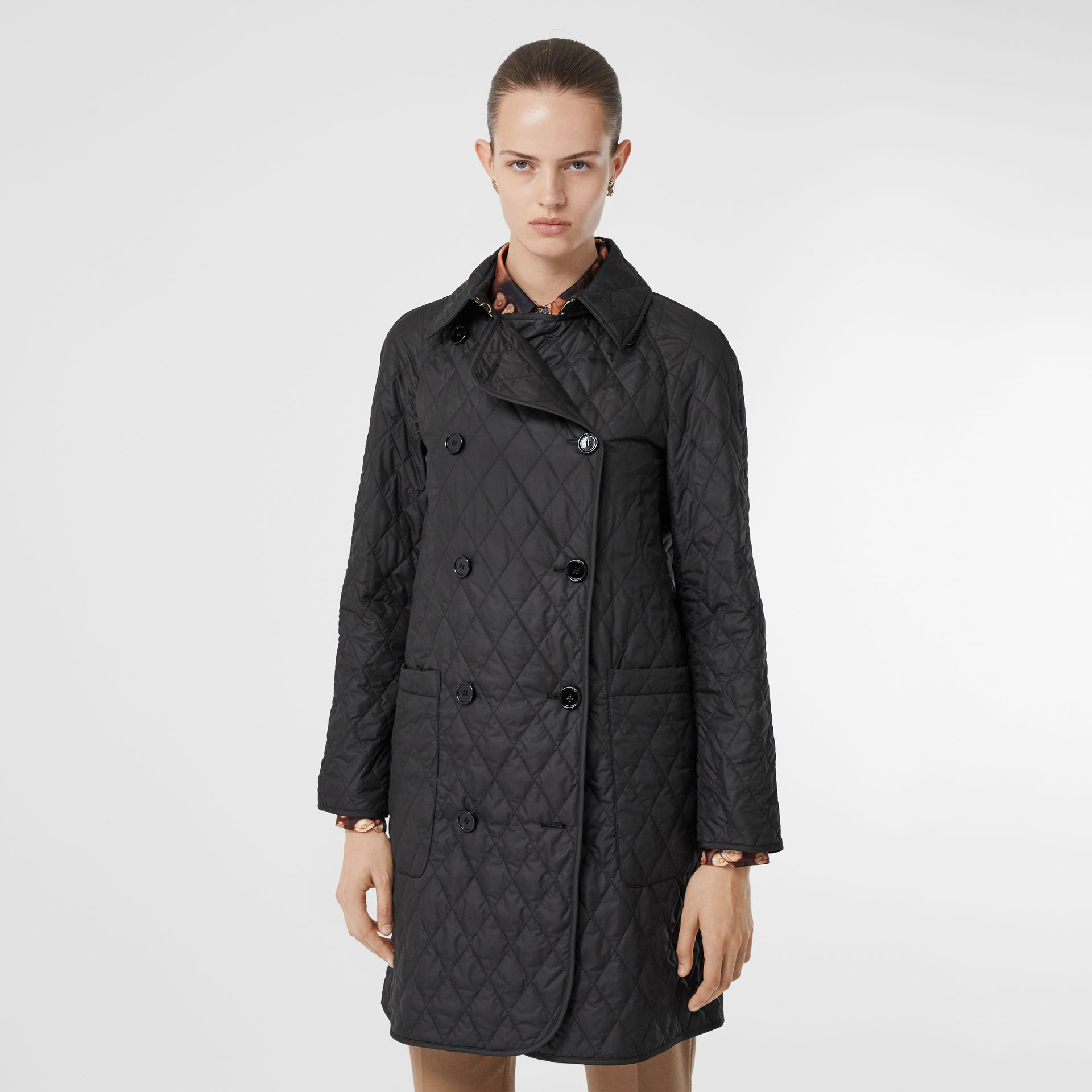 Diamond Quilted Double-breasted Coat in Black - Women | Burberry - gallery image 6