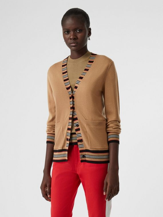 Icon Stripe Detail Merino Wool Cardigan in Camel