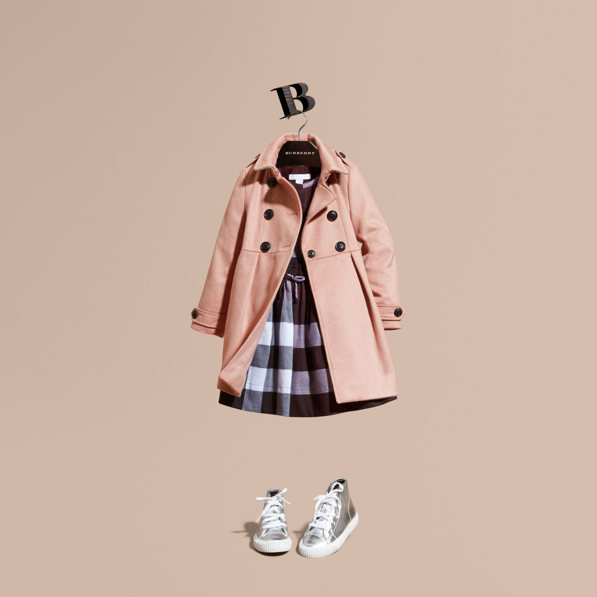 Chalk pink Cashmere Military Coat Chalk Pink - gallery image 1