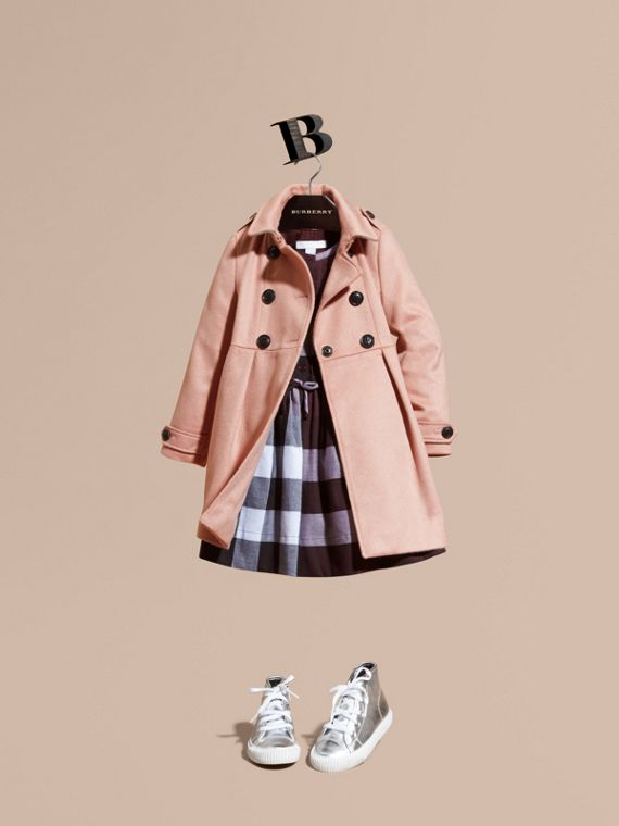 Cashmere Military Coat Chalk Pink