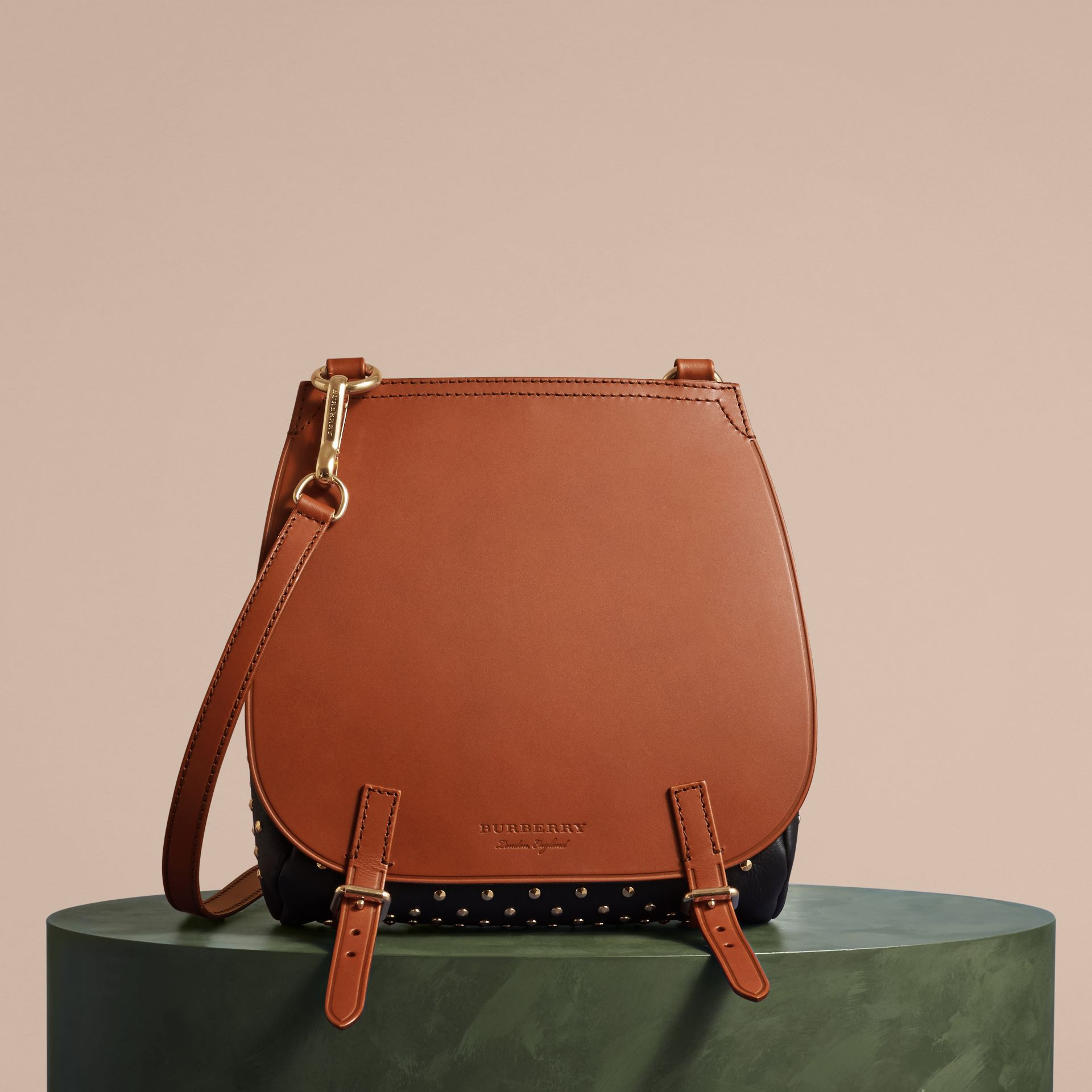 Tan The Small Bridle Bag in Riveted Leather - gallery image 8