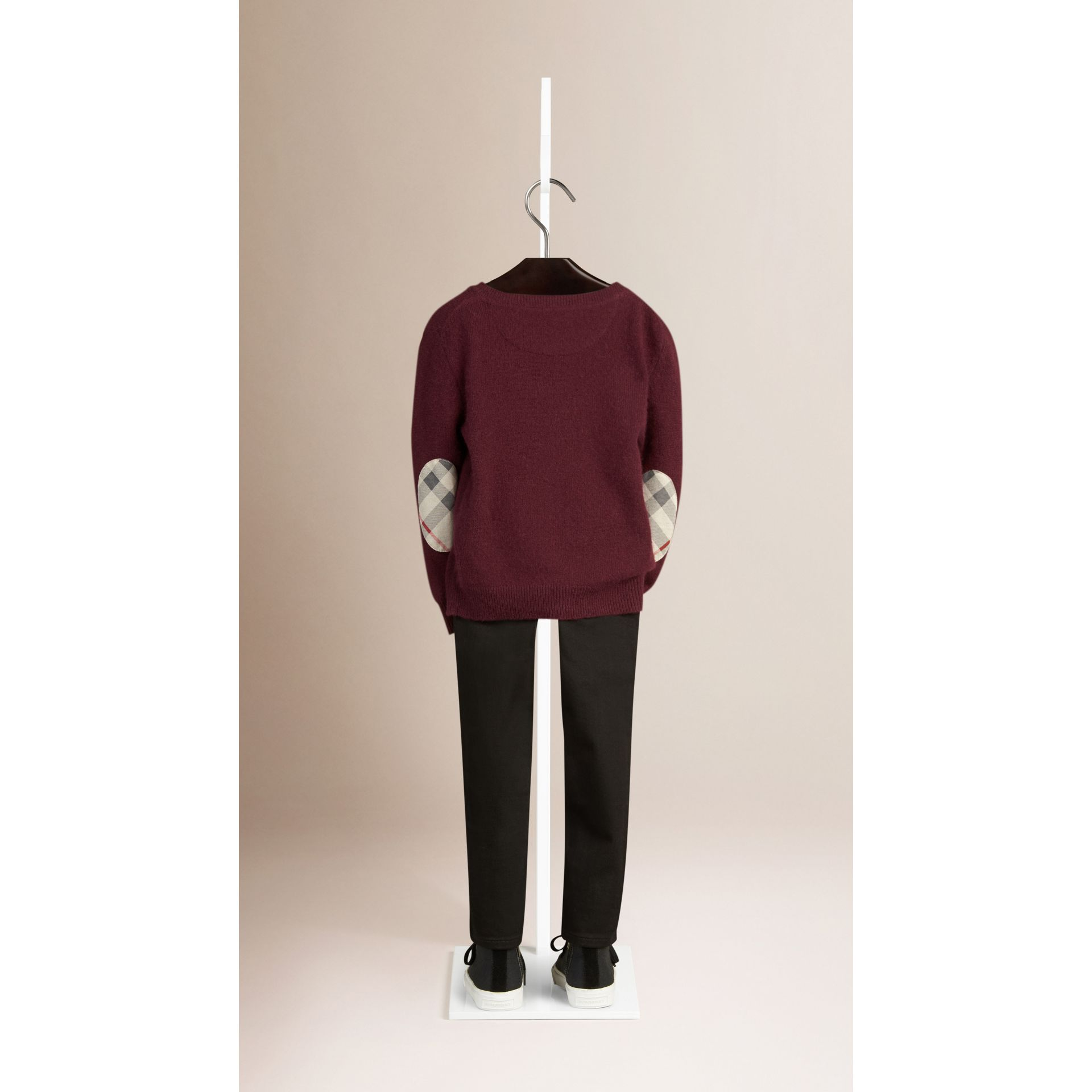 Check Elbow Patch Cashmere Sweater in Deep Claret - gallery image 2